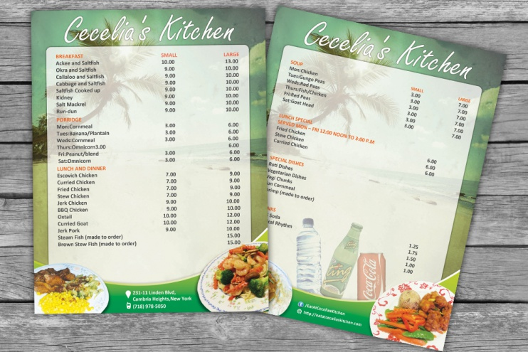 Carribean menu mockup front back